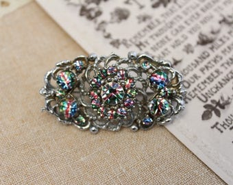 Vintage - Silver - Diamante - Iridescent - Multicoloured - Brooch - Antique -  Heirloom - Pin