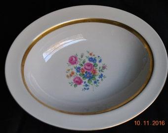 "Vintage Haviland Gainsborough ( New York) 9 1/2"" Oval Vegtable Bowl Gold Trim"
