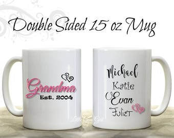 Personalized Grandma Coffee Mug with Grandkids Names - Custom Grandma Mothers Day Coffee Mug with Est Date Grandchildren Name