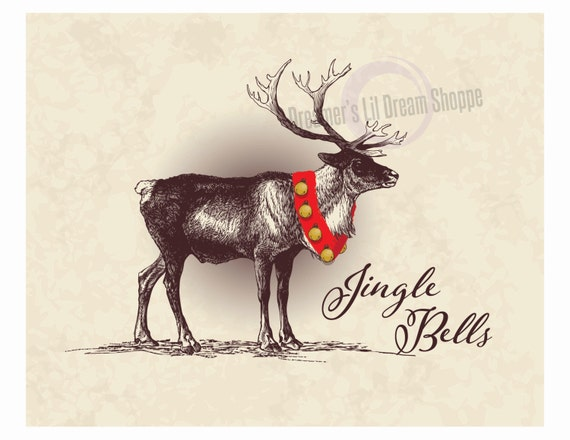 Festive Jingle Bells Reindeer Christmas 8x10 Vintage Style Digital Fine Art Printable