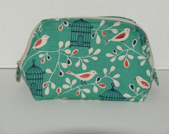 """Wire Frame Zipper Pouch With Pocket / Padded Cosmetic Bag Made with Japanese Cotton Linen Fabric """"Bird Cage"""""""