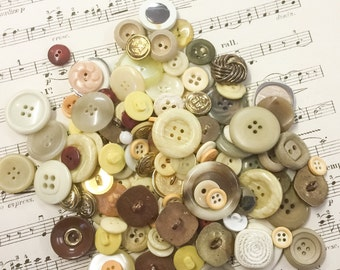 Collection of Mixed Toned French Buttons, Over 50 Assorted Buttons, Buttons for Craft  (5)