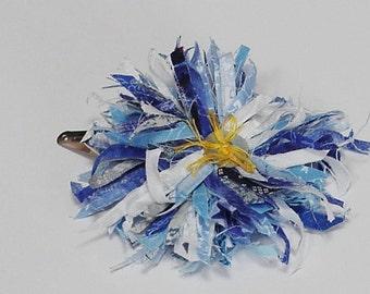 Blue Flower Hair Clip/Brooch, Tattered Frayed Fabric Original Textile Fiber Barrette/Lapel Pin, Wearable Textile Fiber Art itsyourcountry