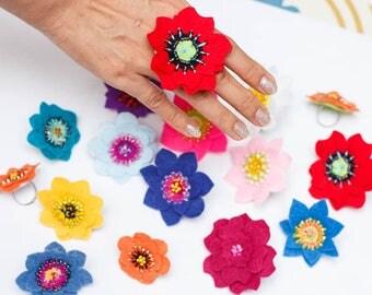 Flower Felt  Ring/Acessory/colorful/Whole Sale
