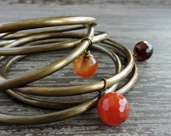 CYBER MONDAY SALE Boho Brass Stackable Bracelet Set: Amber Color Faceted Agate Beaded Indian Jewelry, Boho Layering Stacked Bracelets, Gypsy