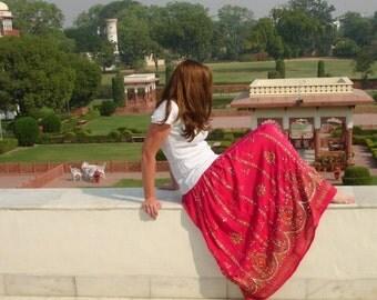 ON SALE Fuchsia Pink Skirt, Gypsy Skirt, Maxi Skirt, Indian Skirt, Sequin Skirt, Long Skirt, Festival Skirt, Festival Clothing, Boho Skirt,