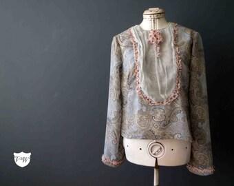 Pastel Blue Paisley Victorian Bib Style Blouse, Handmade Design