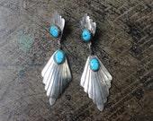 Turquoise Drop EARRINGS / Southwest Sterling Jewelry / Vintage Dangling Earrings