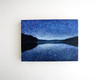 Night Sky Lake Mixed Media Painting - 5 x 7