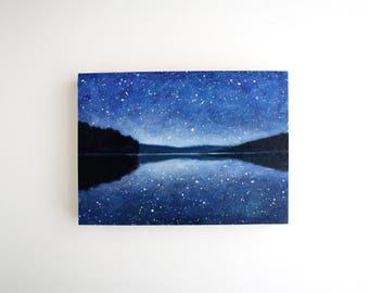Night Sky Lake Mixed Media Painting - 5 x 7