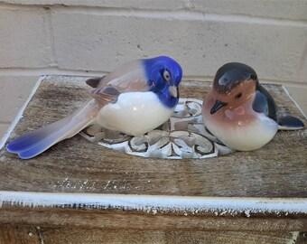 Bing and Grondahl Titmouse Bird Pair Pessimistic Tail Down #1630 & 2310 Denmark Porcelain Figurines