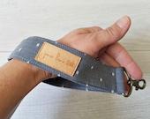 Chambray Wristlet Key Chain | Blue Chambray Key Lanyard with White Dots