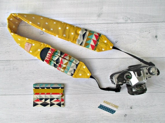 Gift for Photographer. Camera Strap and Memory Card Case Gift Set. Gold DSLR Strap with Aztec Lens Cap Pockets. Card Wallet. Gift Under 50.