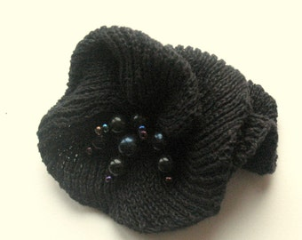 Flower Brooch Romantic rose black blue with Pearl