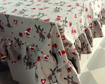 "Christmas Tablecloth Linen Tablecloth Christmas Gift Ruffled Tablecloth Burlap Tablecloth Washed Linen Rudolph Reindeer 80"" x 120"""