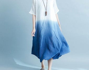 Women Cotton and linen pleated long dress
