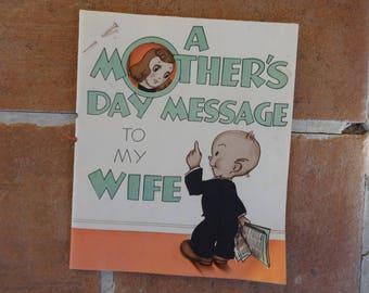 Vintage original mothers day card Hallmark 1940's paper ephemera retro