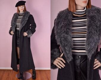 90s Grey Wool Shaggy Faux Fur Trim Coat/ US 8/ 1990s/ Maxi Coat/ Jacket