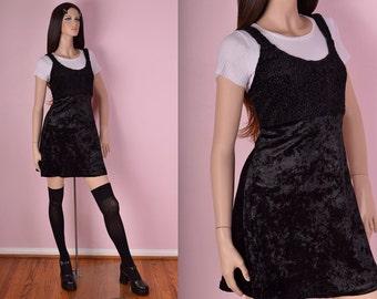 90s Black Crushed Velvet Mini Dress/ Medium/ 1990s/ Tank/ Sleeveless