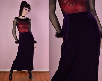 90s Purple Velvet Maxi Skirt/ Medium/ 1990s