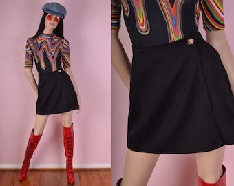 90s Black Wrap Skirt/ US 5-6/ 1990s