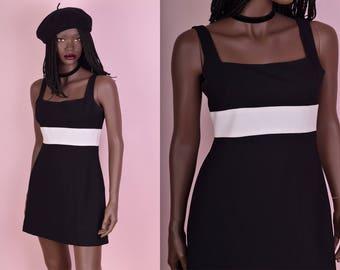 90s Black and White Mini Dress/ US 6/ 1990s