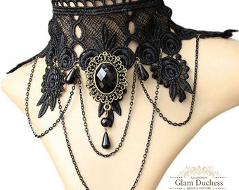 Wedding jewelry, choker collar necklace, vintage inspired Victorian black lace necklace, Gothic wedding choker, Ballroom necklace jewelry