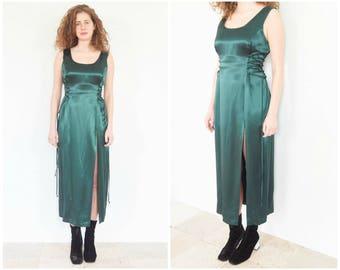 90s Green Satin Corset Waist Slit Dress / Party Dress Size Large