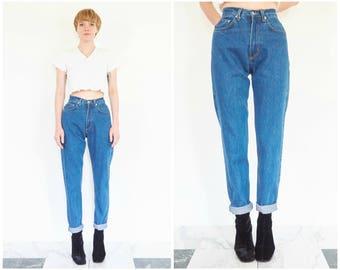 90s High Waist Tapered Blue Jeans / 25 Waist
