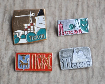 "Set of 4 Vintage Soviet Russian badges,pins.""Russian city-Pskov"""