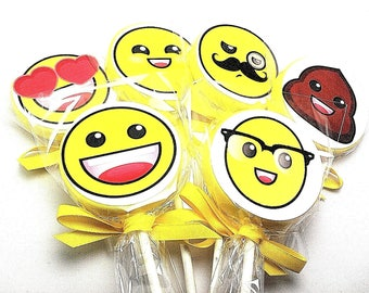 12 LARGE ROUND Lollipops with EMOJI Labels and Satin Ribbon - Emoji Party Favors, Emoji Party