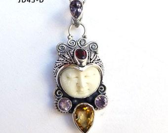 Amethyst Citrine Garnet Gemstone Bali Goddess Face Sterling Silver Pendant JD45-D