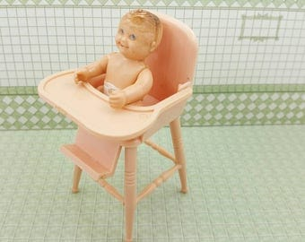 Baby Chip Renwal High  Chair  Baby Nursery Doll House Toy hard  Plastic  Chair