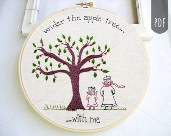 Embroidery Pattern PDF, Apple Tree, Mom Daughter, Fall, Autumn, Stitching  Pattern