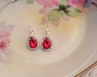Ruby crystal teardrop earrings bridal earrings lever back earrings wedding earrings pear earrings teardrop earrings rhinestone earrings