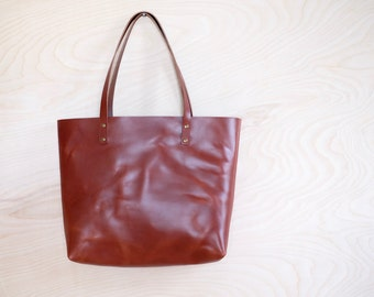 Leather Tote | Chestnut Brown