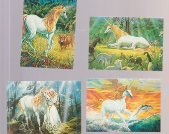Lot of 4 unicorn fantasy art trading cards, Ken Barr Comic Images 1994