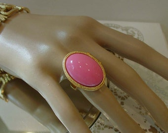 Mod Mid Century Pink Dome Perfume Ring