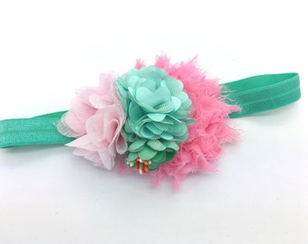 Mint and Pink Baby Headband, Girls Headband, Newborn Headband, infant Headband, toddler headband, babygirl headband, easter headband, spring