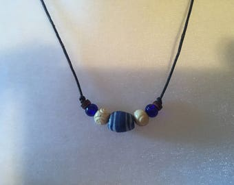 Unisex Blue African Trade Barrel Bead Tribal Carved Bone BohoBlue Glass Horn Discs Surfer Adjustable Leather necklace
