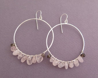 Dangle Hoop Earrings with Rose Quartz and Smoky Quartz - Sterling Silver