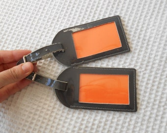 2 Grey Patent Leather Luggage Tags
