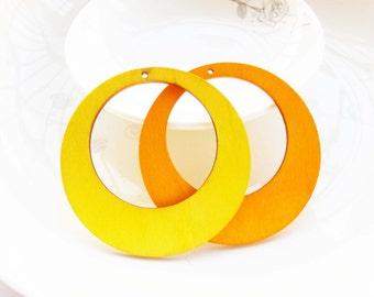 Dyeing Series -  6 PCS 60mm Filigree Variety of Colors Circle Shape  Wood Dangle/ Wood Charm/Pendant NM115