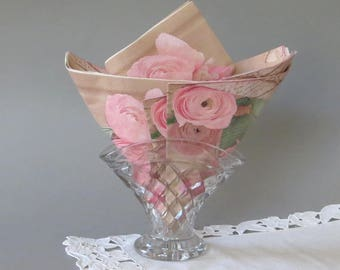 Vintage Glass Napkin Holder Crystal Napkin Holder Glass Table Decor Wedding Table