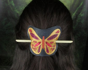 Leather Barrette- Butterfly design