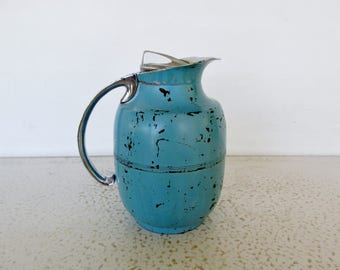 Carafe Manning-Bowman Art Deco Metal Insulated Pitcher Chippy Blue Coffee Water Beverage