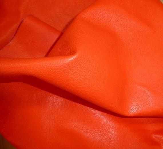 "Leather 12""x12"" DIVINE Bright ORANGE top grain Cowhide 2.5 oz / 1 mm half hides available PeggySueAlso™ E2885-11"