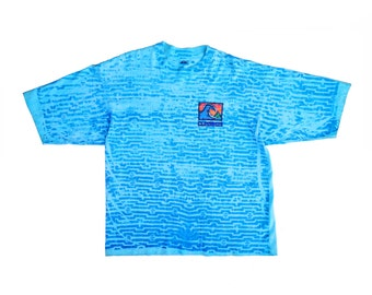Heavy Wt. 80s Quiksilver Neon Allover Print Surf T-Shirt - XL