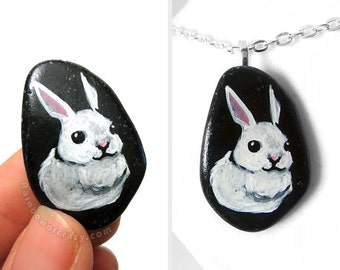 SALE: White Rabbit Art, Bunny Necklace, Hand Painted Pebble Pendant, Pet Portrait, Memorial Jewelry, Handmade Gift for Her, Animal Painting