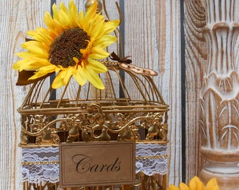 READY TO SHIP / Small Gold Sunflower Wedding Birdcage Card Holder / Wedding Card Box / Sunflower Wedding / Spring Wedding / Summer Wedding